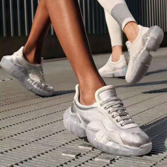 Pour as Lacets Femmes Argent Chaussures Shimmer As Or En Décontracté De À Talons Véritable Picture Épais Cristal Top Dames Course Low Picture Baskets Cuir Sneakers F1TlcKJ
