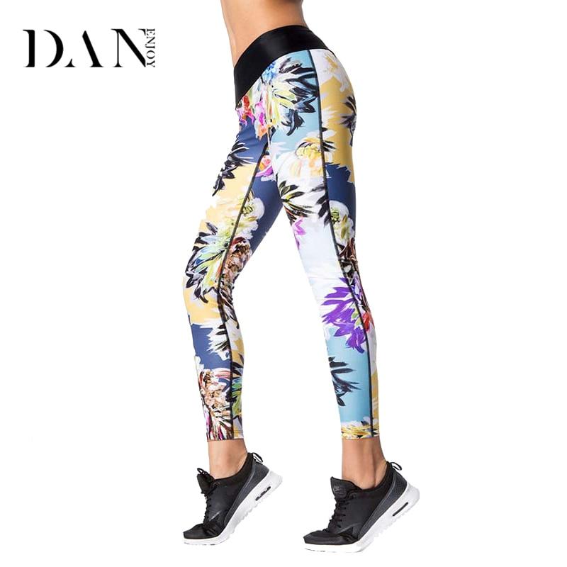 DANENJOY Floral Leaf Printed Sports Leggings Yoga Pants Fitness High Waist Tights Leggins Women Running Compression Sportswear