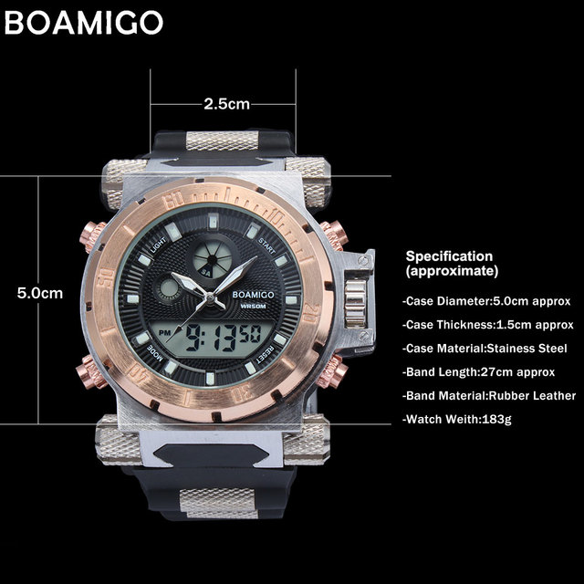 2017 luxury BOAMIGO brand Men military sports watches Dual Time Quartz Digital Watch rubber band wristwatches relogio masculino