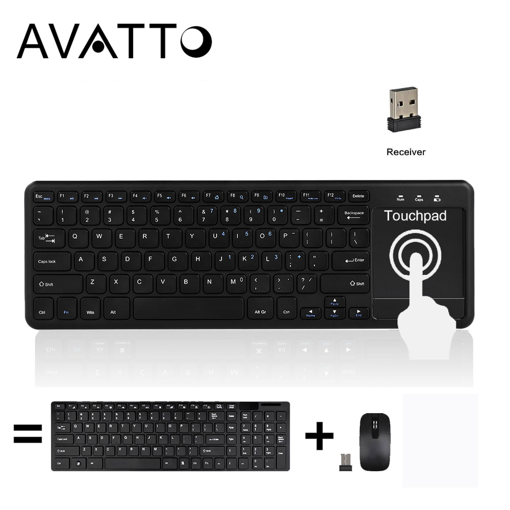 avatto super slim 2 4g wireless gaming keyboard with touchpad for andriod ios phone tablet smart. Black Bedroom Furniture Sets. Home Design Ideas