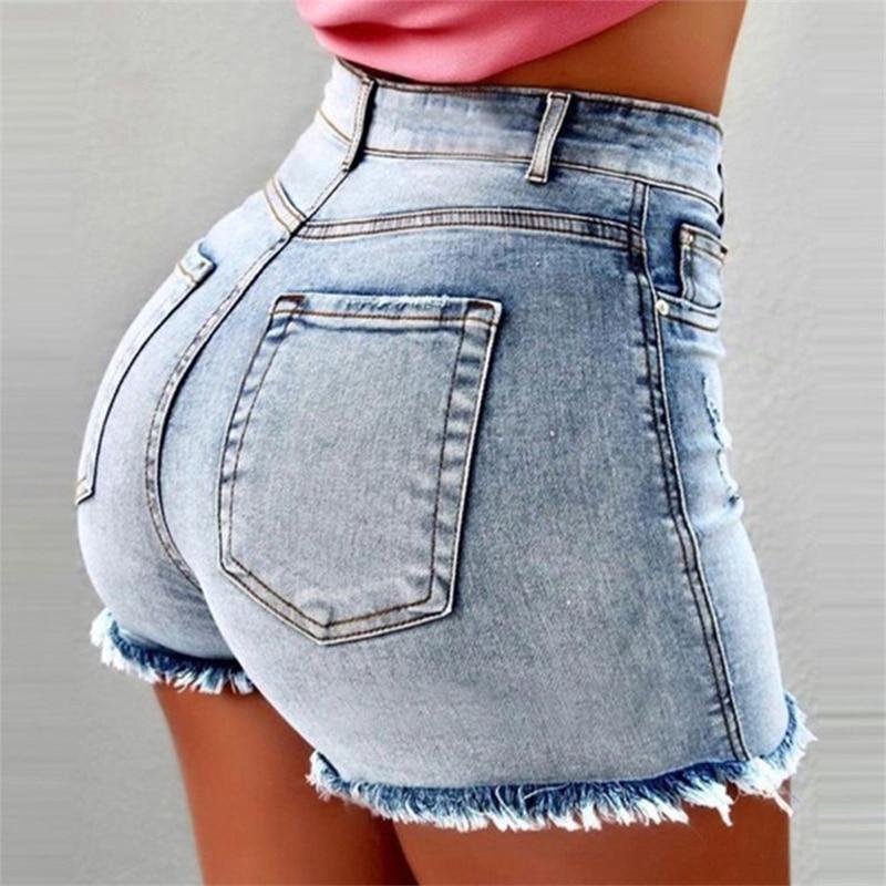 Women's High Waist Denim Shorts Hole Summer Shorts Jeans Tassels Plus Size Sexy Casual Commuter Jeans B023
