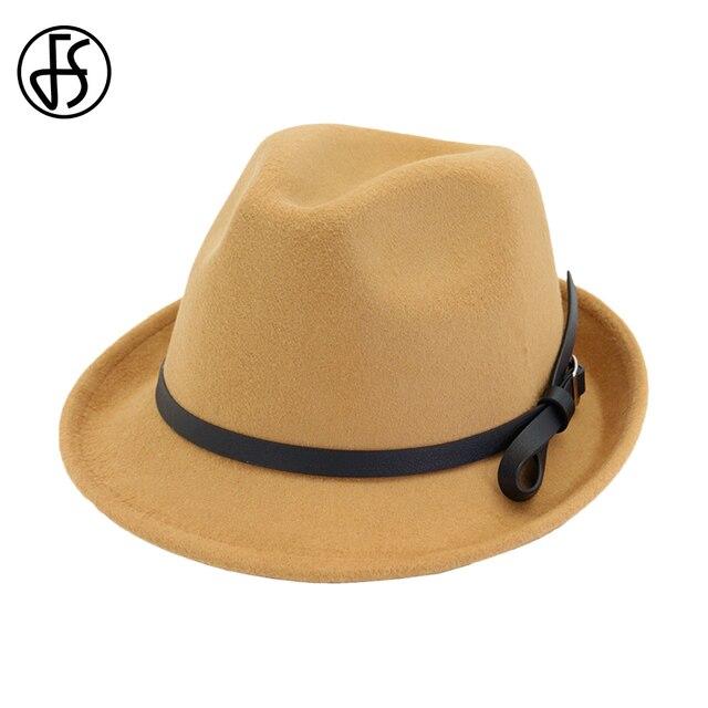 472044cf761 FS Khaki Felt Hats Men Fedora Hats With Belt Vintage Church For Women  Elegant Trilby Cap