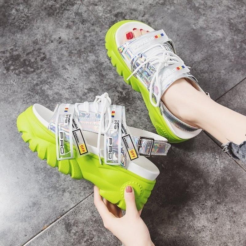 HTB15SjpXlv0gK0jSZKbq6zK2FXaA 2019 Summer Chunky Sandals Women 8cm Wedge High Heels Shoes Female Buckle Platform Leather Casual Summer Slippers Woman Sandal
