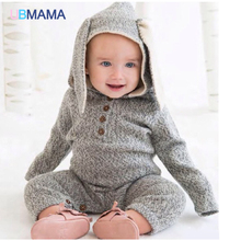 Age season fawn modelling ha clothing baby romper suit gray rabbit baby cotton wool jumpsuits climb clothes