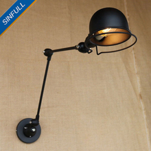Long Arm Retractable Wall Lamp American Vintage Bedside Adjustable Wall  Light Indoor Home Lighting Sconce Luminaria Fixtures