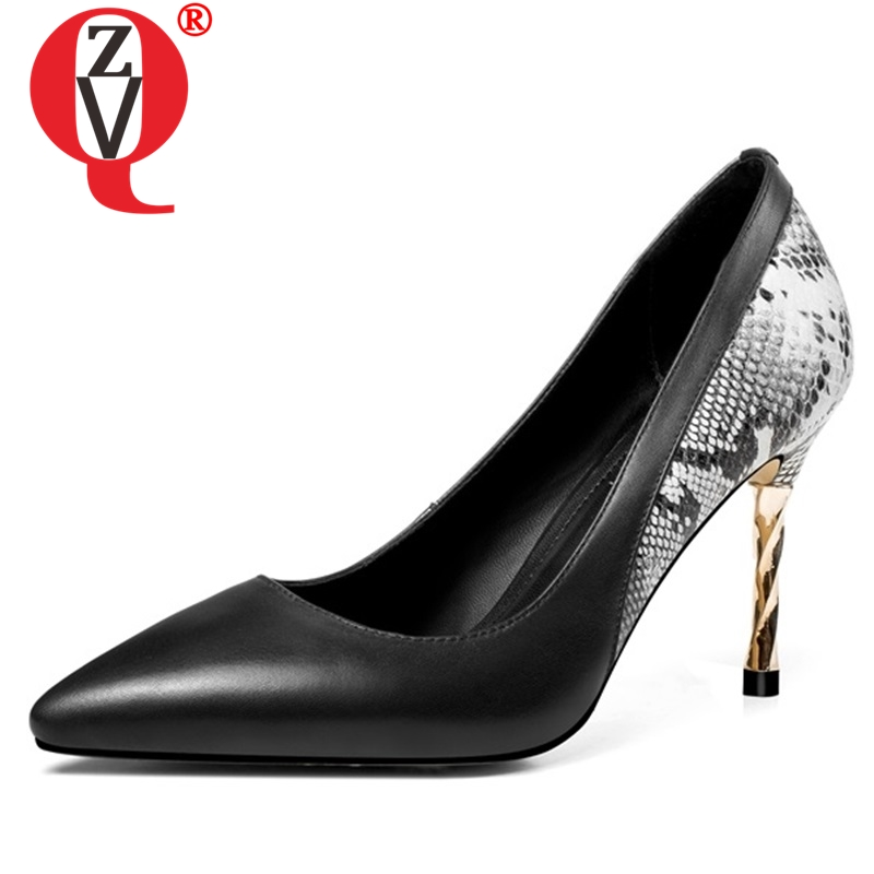 ZVQ hot sale new high quality pointed toe super high thin heels shallow spring black and