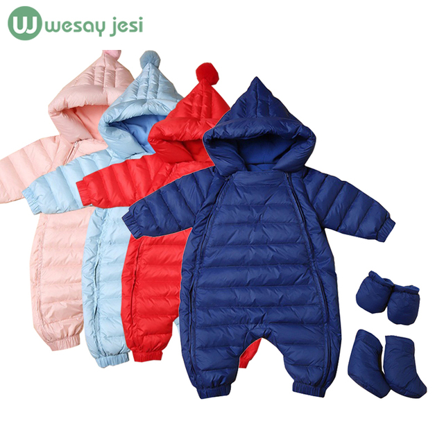 Duck down Baby Rompers long sleeve Winter newborn baby snowsuit Boys outerwear Girls Warm baby christmas Clothes Jumpsuit