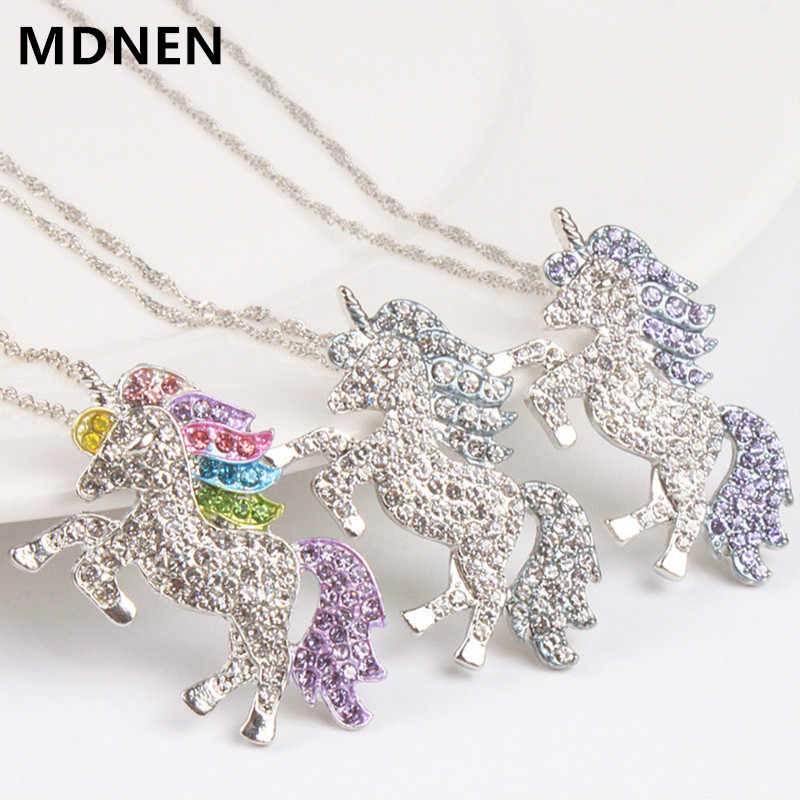 Trendy Necklace For Women Baby Gifts High Quality Unicorn Animal Crystal Necklace Girls Rainbow Necklaces & Pendants