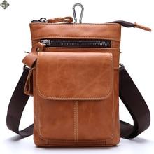 Fashion Genuine Leather Belt Waist Packs Men Bags Vintage Men Shoulder Crossbody Bag Male Messenger Bags Phone Small Waist Bag
