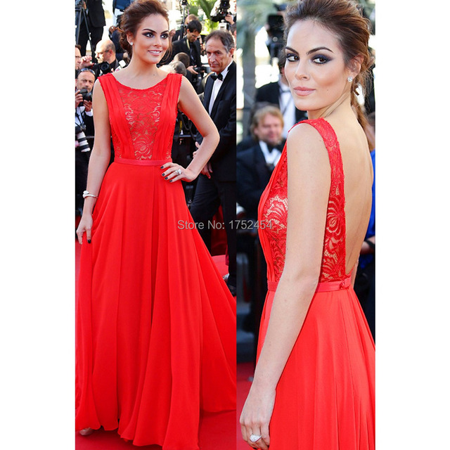 2015 Scoop Red Carpet Celebrity Dresses Lace Chiffon Beyonce Gatsby