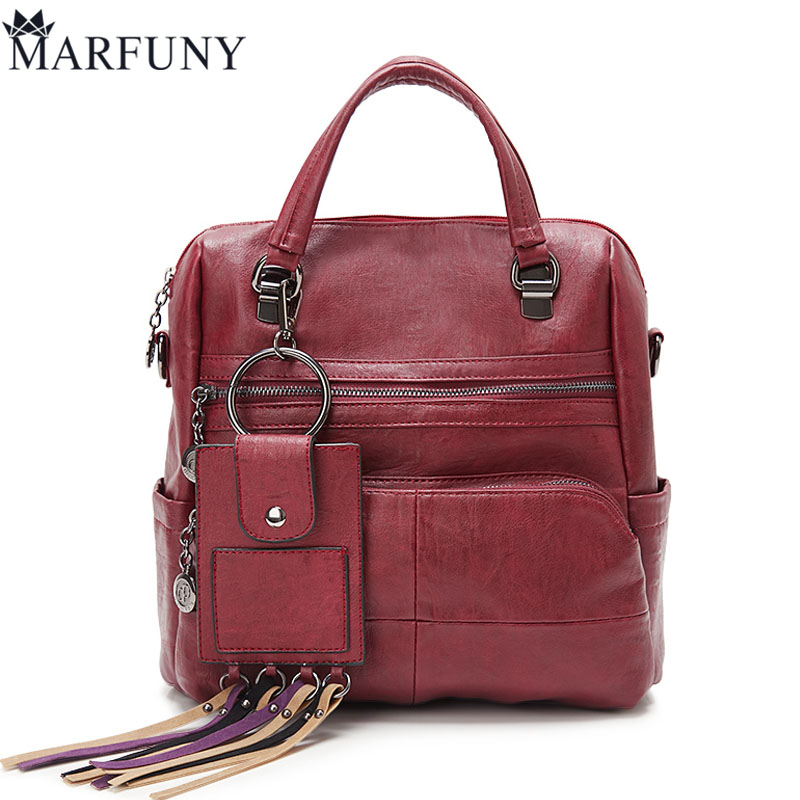 MARFUNY Brand Tassel Backpack Women Shoulder Bags Female Leather Backpacks Large Casual Women Bag New Design Sac A Dos Femme marfuny brand tassel shoulder bag female