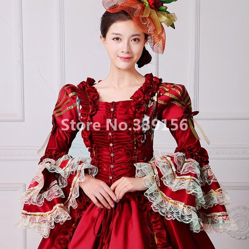 Burgund Viktorianischen Zeitraum Kostüm Vintage Lange Ballkleid ...