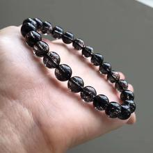 Genuine Natural Black Hair Rutilated Quartz Crystal Women Men 8mm Clear Round Beads Wealthy Stone Bracelet From Brazil AAAAA