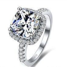 Luxury 3 Carat SONA Diamante Simulado Anillos de Compromiso de Corte Princesa Cojín Anillo de Las Mujeres Anillo de Bodas de Compromiso de Diamantes Sintéticos