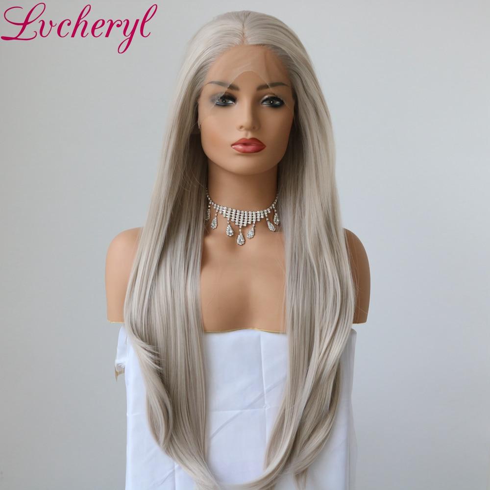 Lvcheryl Handbundet Ny Platinum Grå Lång Natural Straight High - Syntetiskt hår