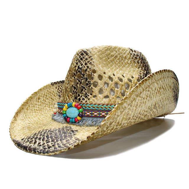 Luckylianji Women S Men Summer Straw Beach Cowboy Western Cow Fedora Hat Hollow Tel Turquoise Bead Band