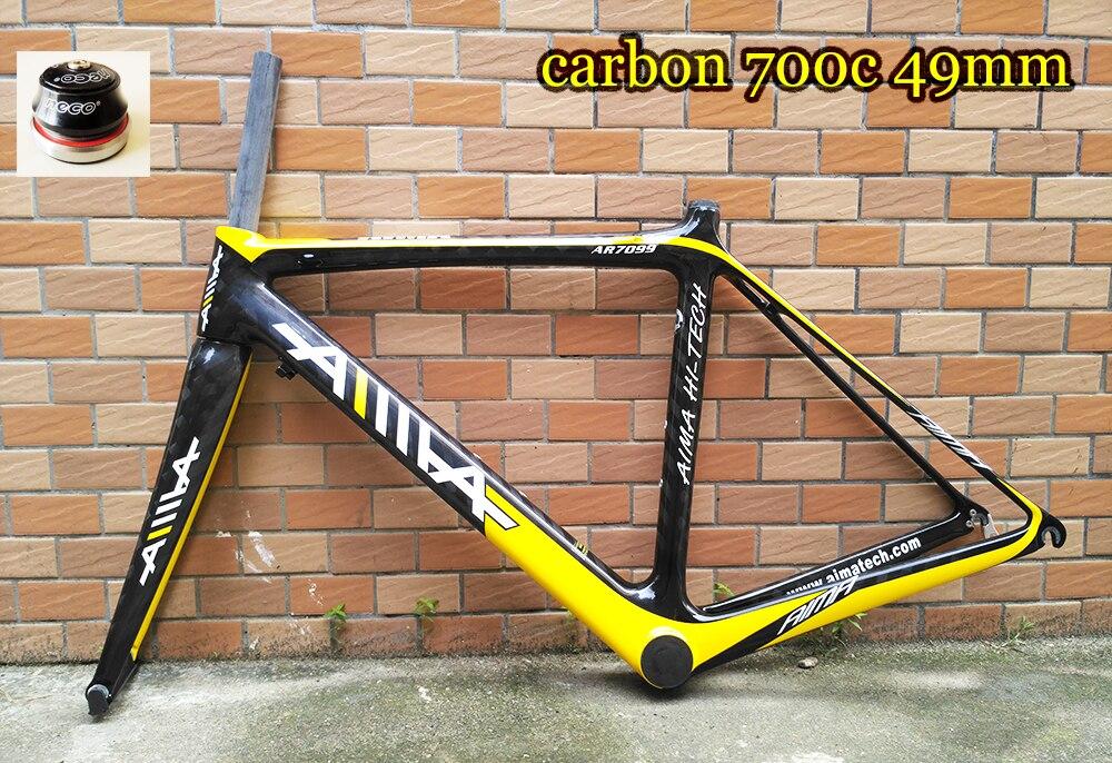 Крутая цена оригинальный AIMA легкий вес 1450 см г 49 см 700C дорожный велосипед Полный карбоновая рама и вилка