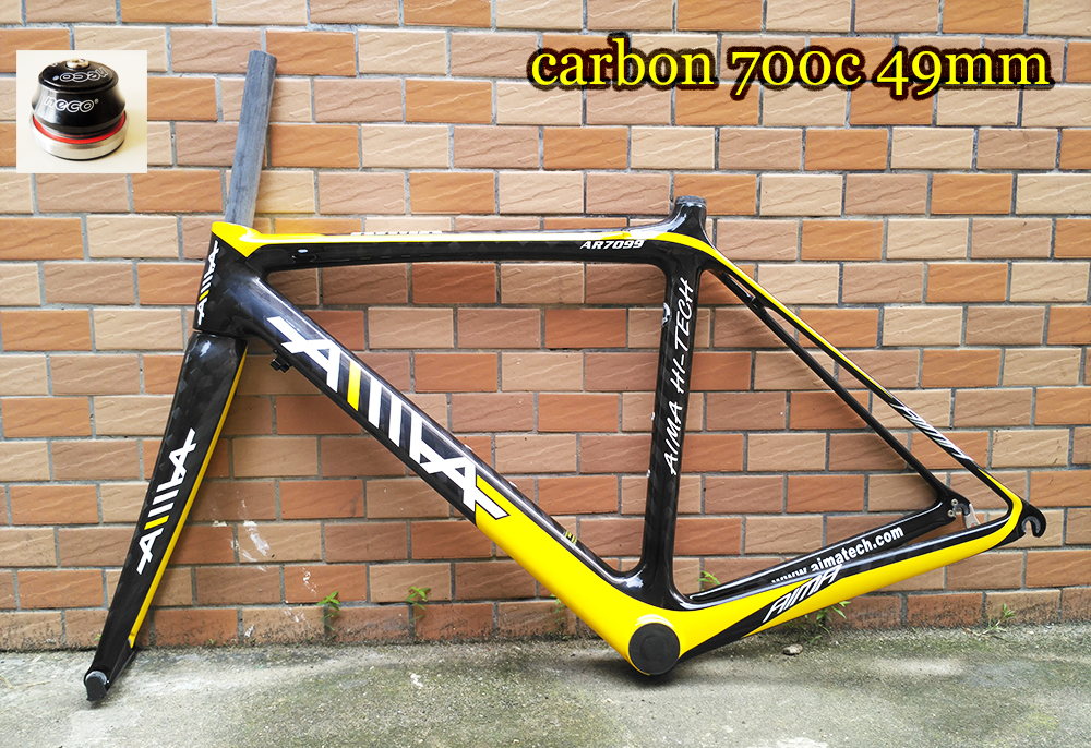 Cool price Original AIMA light weight 1450g 49cm 700C road <font><b>bike</b></font> full carbon <font><b>frame</b></font> and fork