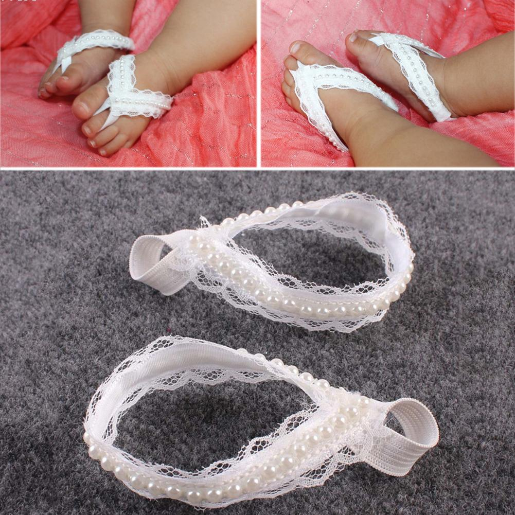 9dd275925ce33 Newborn Baby Girls Flower Sandals Pearl Flower Foot Band Toe Rings ...