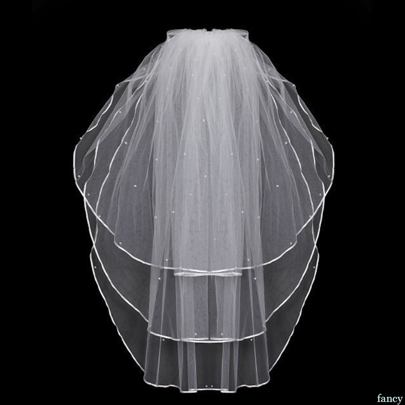 3 Layers Women Bridal White Wedding Tulle Veil Ribbon Edge Faux Pearl Beaded Embellishment Center Cascade Marriage Solid Color