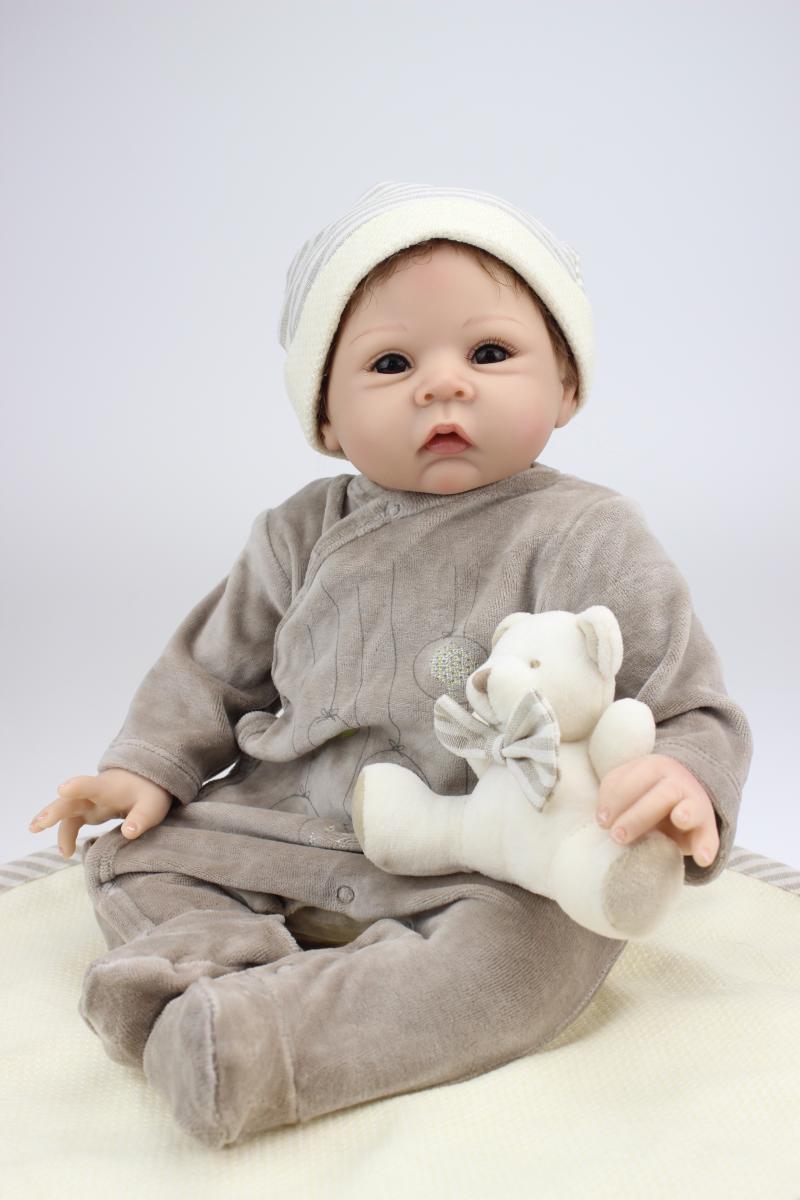 55 см силиконовые возрождается кукла ручной работы 22-дюймовый мягкий Реалистичного Reborn Baby Куклы коричневый глаз Babe Обувь для девочек pecifier ...