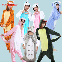 VEVEFHUANG Winter Adult Flannel Dinosaur Raccoon Unicorn Pajamas Onesie Cosplay Costume Cartoon Animal Sleepwear For Women