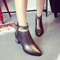 Nova Primavera Outono Correias Duplas Pontas Zipper Mulheres Botas de Salto Bloco Tornozelo Botas Senhoras Fivela Botas Cinta Sapatos Casuais