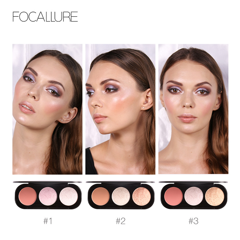 Focallure Brand 3 Colors Blush & Highlighter Palette Highly Pigmented Face Matte Highlighter Powder Illuminated Blush With Brush Beauty & Health Eye Shadow