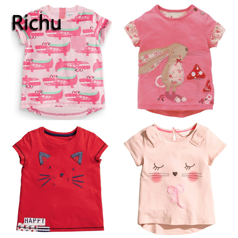 brand baby tops printed baby girl t-shirt cute tee for girls top designer little girl t-shirt short tee kids funny infant tee