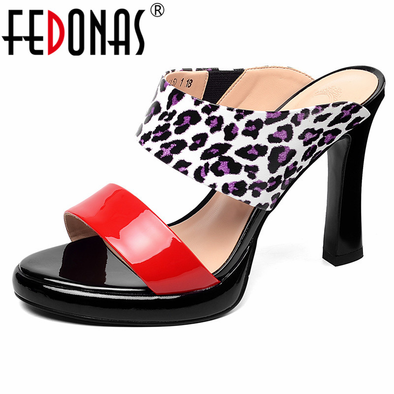 FEDONAS Round Toe Super High Heels Fashion Sexy Mixed Colors Genuine Leather Patent Leather Women Sandals