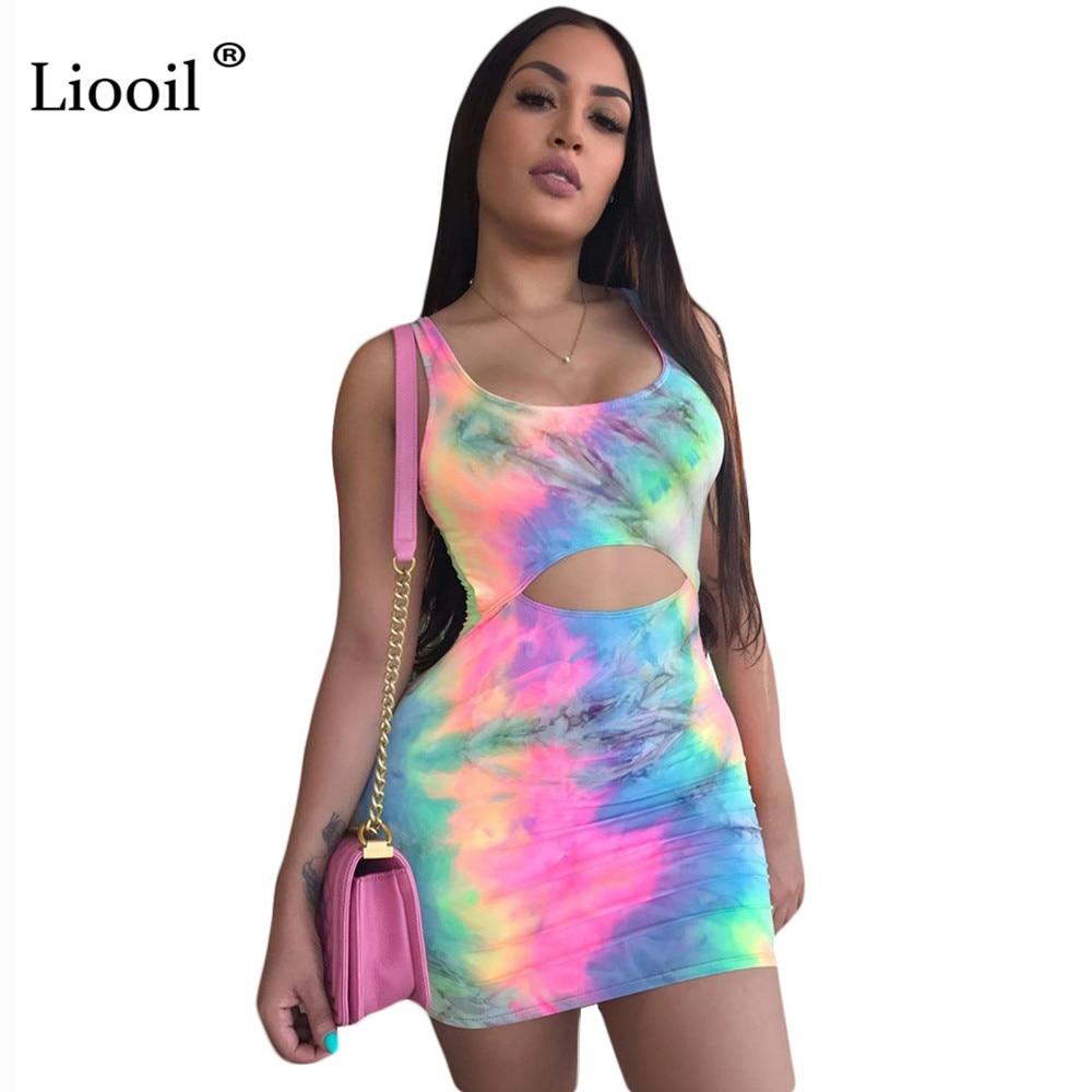 Liooil Multi Color Cut Out Bodycon Mini Dress Sexy Club Wear Women 2019 Sleeveless High Waist Tie Dye Party Short Tight Dresses