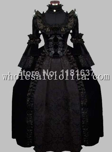 Luxury Gothic Black 19th Century Noble Victorian Era Dress Ball Gown Cosplay Costume