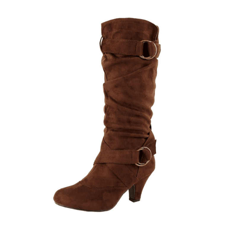 WETKIS pilili yüksek topuklu çizmeler sivri burun çapraz bağlı ayakkabı kauçuk kadın akın ayakkabı orta buzağı çizme kadın 2019 kış
