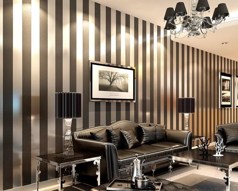 Moderna nero carta da parati a righe viola e silver for Carta da parati moderna per soggiorno
