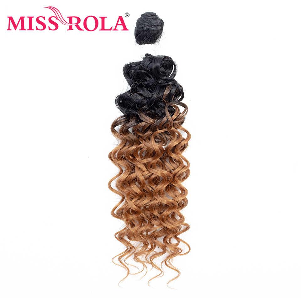 Extensiones de Cabello sintético rizado corto Miss Rola #1 6 unids/pack tejido de fibra de Kanekalon para mujer 16 18 20 pulgadas pelo que teje