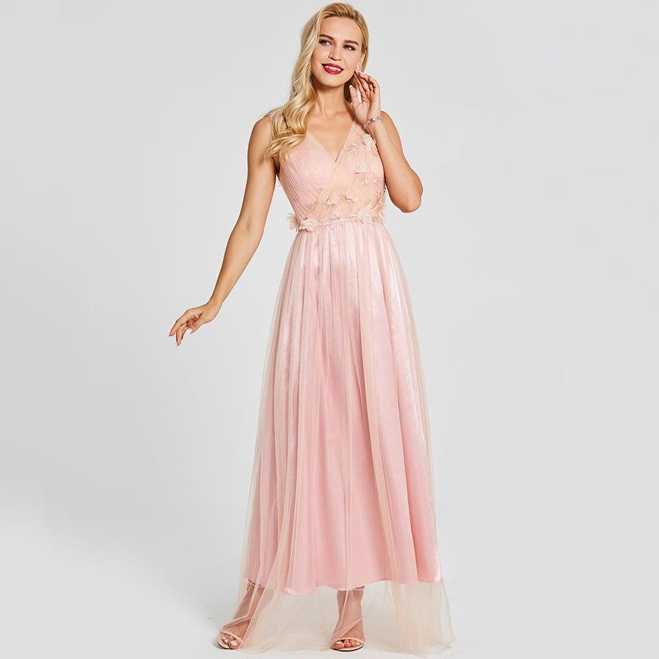 Dressv pink long   evening     dress   backless cheap v neck sleeveless wedding party formal   dress   a line   evening     dresses