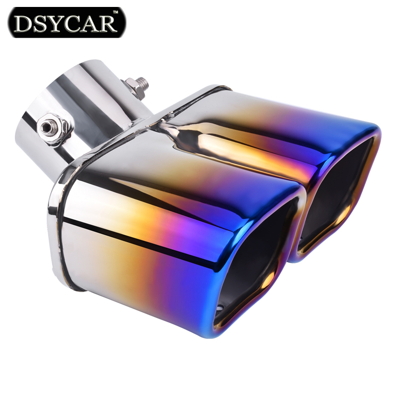 DSYCAR Universal Grilled blue Stainless Steel 1to2 Dual Pipe Exhaust pipe Muffler tip covers Car styling