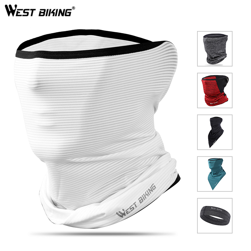 WEST BIKING Summer Bicycle Face Mask Ice Fabric Anti-sweat Breathable Sport Cycling Running Scarf Headwear Men Women Bike Mask