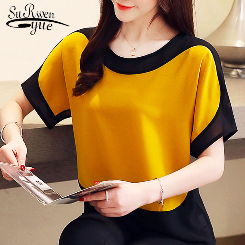 blusas mujer de moda 2019 chiffon   blouse   plus size ladies tops   shirts   Solid Short O-Neck Batwing Sleeve women   blouse   3397 50