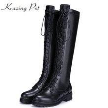 Krazing pot/кожа коровы 2018 с круглым носком на низком толстом каблуке удобные ботинки на шнуровке теплые в стиле панк-рок в ковбойском стиле для верховой езды до бедра высокие сапоги L12