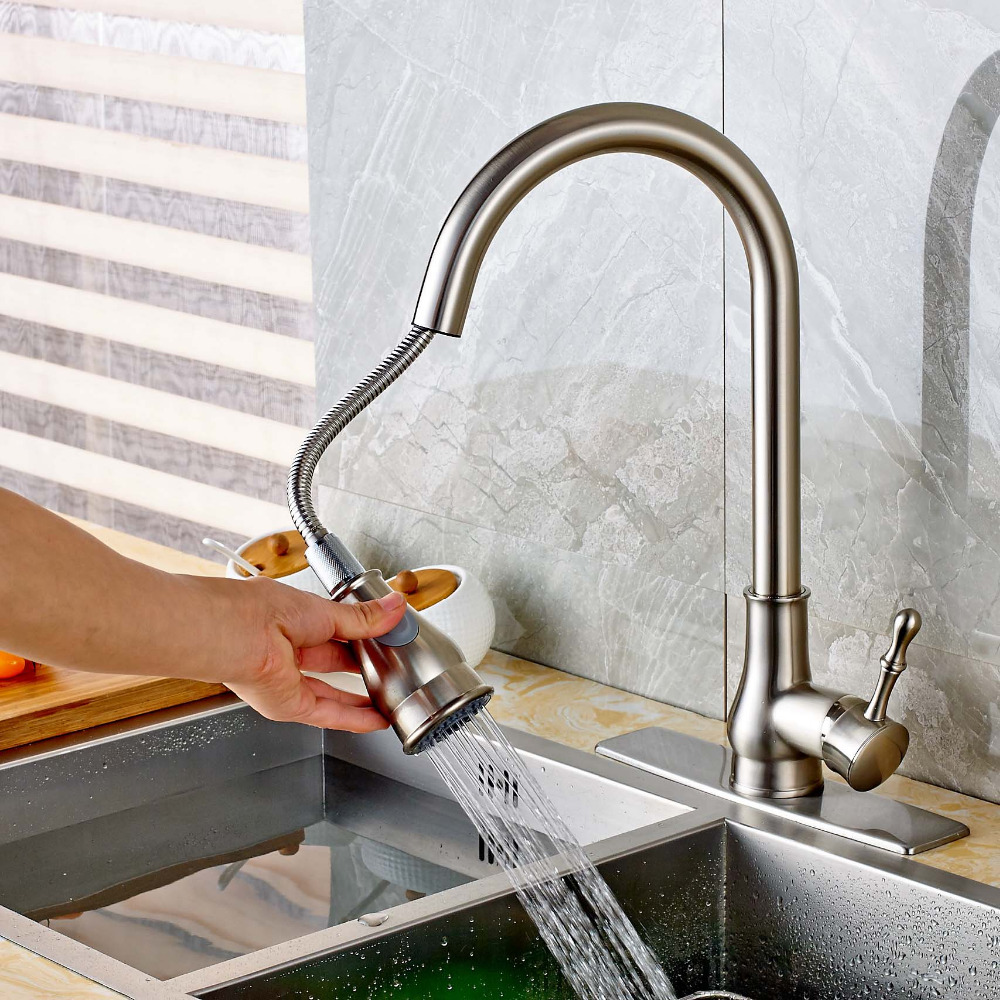 Brushed Nickel Pull Out Spout Kitchen Faucet Vessel Sink Mixer Tap Square Plate