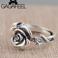GAGAFEEL Vintage Rose Floral Rings Real Pure 925 Sterling Silver Adjustable Solid Silver Ring For Women