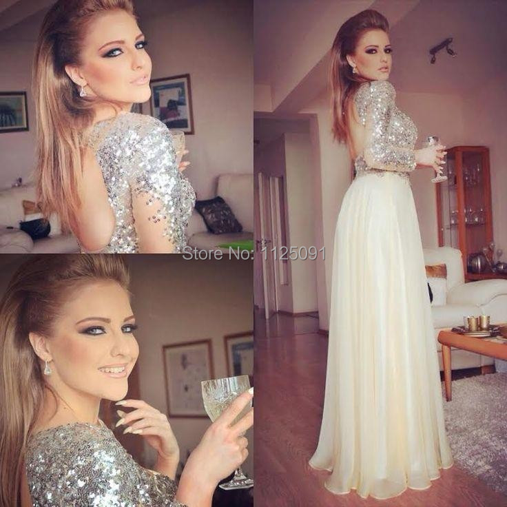 2020 Prom Dresses Long Sleeve Silver Sequined Backless A Line Champagen Chiffon Floor length Evening Celebrity Gown Custom Made
