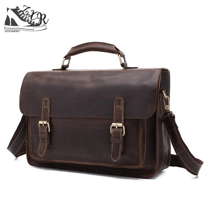 New Vintage Briefcase Casual Genuine Leather Handbags Man Bags Cowhide Leather Crossbody Bag Men Messenger Bags Briefcase цена
