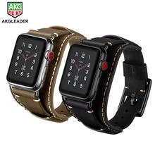 цена Newest Genuine Leather Watch Bracelet Band Strap For Apple Watch Series 1 2 3 iWatch 38mm 42mm Watchbands онлайн в 2017 году