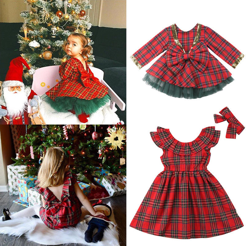 Xmas Cute Pretty Toddler Baby Girls Party Dress 1-6Y Long Sleeve Ruffles Plaid Knee-Length A-Line Red Dress Autumn Clothes