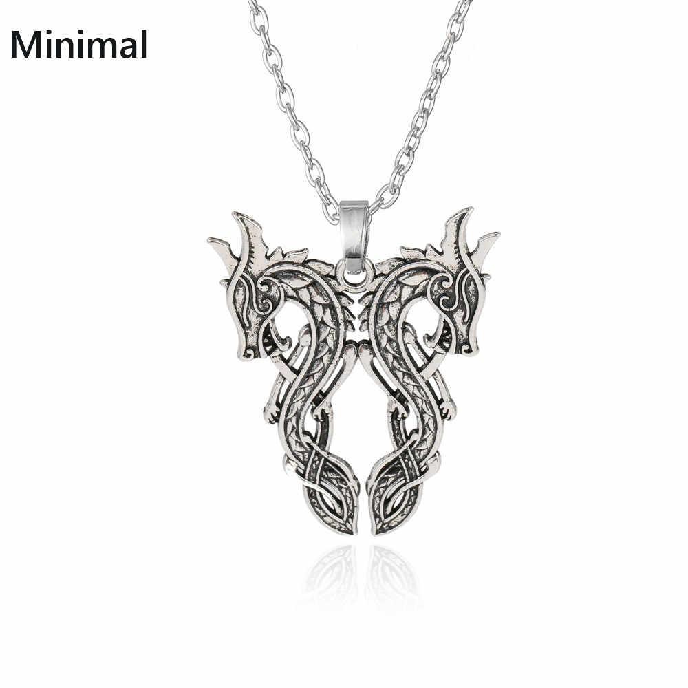 Teamer/Liontin Amulet Perhiasan Legendaris Viking Amulet Liontin Kalung Double Dragon Viking Nordic Jimat