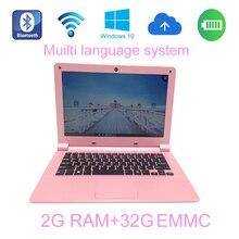 2017 Free shipping 11.6 inch mini Pink laptop 2G ram 32GB EMMC windows 10 system Intel Z3735F 1.33Ghz built in bluetooth camera