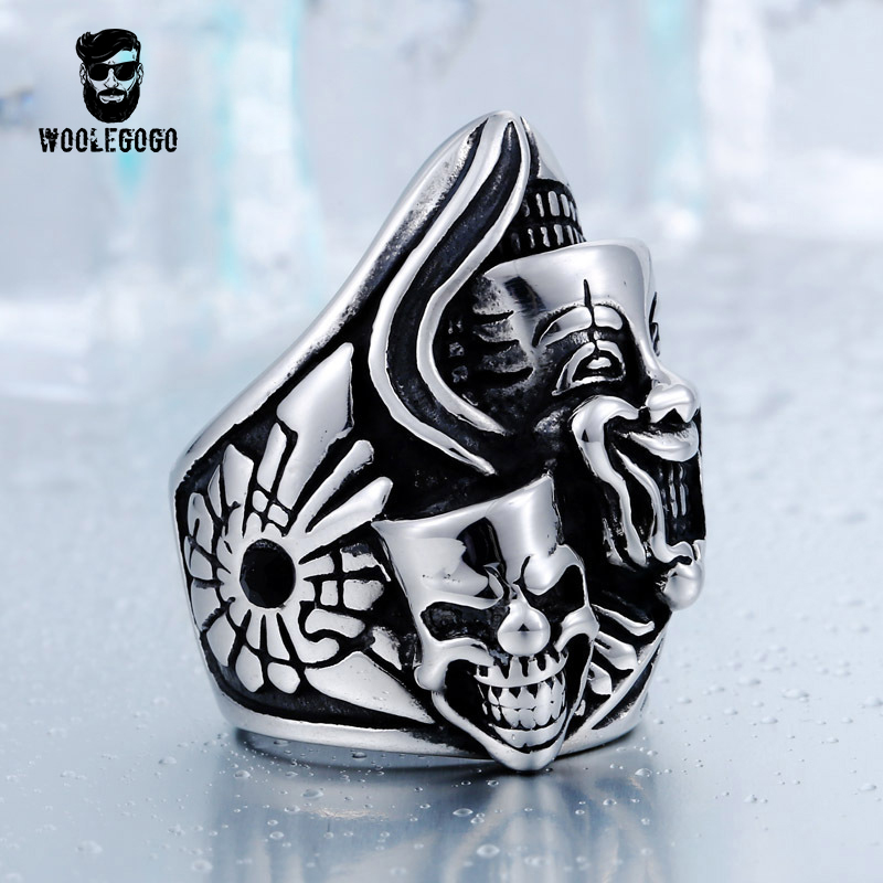 Double Skull Vintage Finger Rings Men Stainless Steel Mens Ring Domineering Punk Retro Ghost Head Wedding Bands Party Jewelry