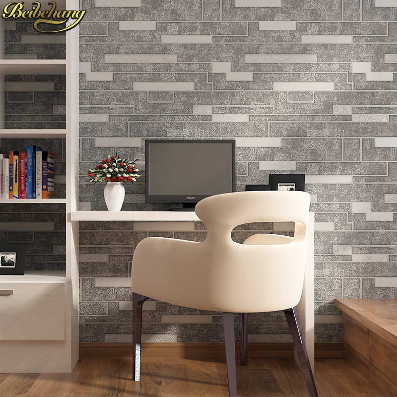 все цены на beibehang Retro Brick Wallpaper For Walls Decor Embossed Living room papel de parede para quarto wall paper Bar KTV restaurant онлайн